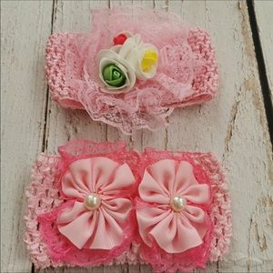 Pink Lace Baby Headbands X2